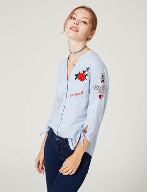 Chemise À patchs bleu clair