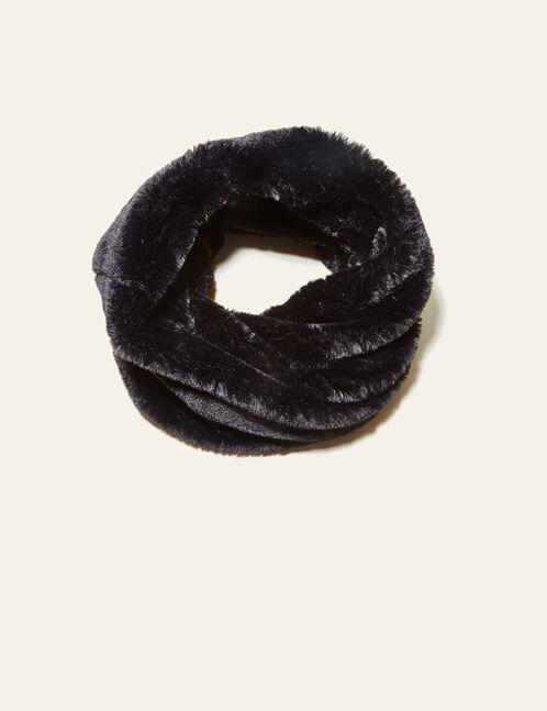 Black plush fleece snood