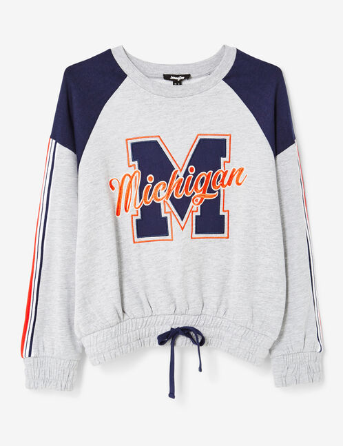 "Grey marl and navy blue two-tone ""Michigan"" sweatshirt"
