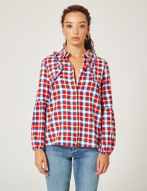 Red, blue and cream checked shirt with embroidered detail