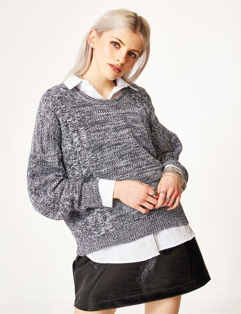 Cream and navy blue braided knit jumper