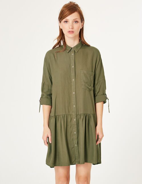Khaki flared shirt dress