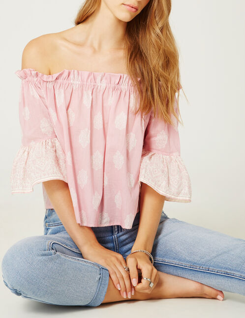 Pink and white off-the-shoulder blouse