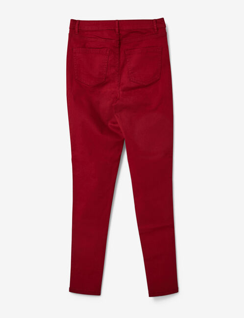 Burgundy high-waisted skinny trousers