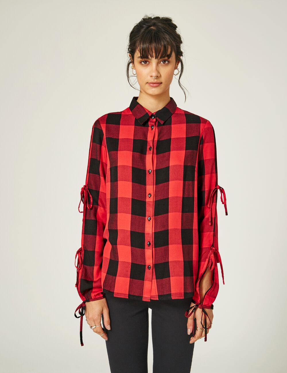 chemise avec manches fendues rouge et noire femme jennyfer. Black Bedroom Furniture Sets. Home Design Ideas