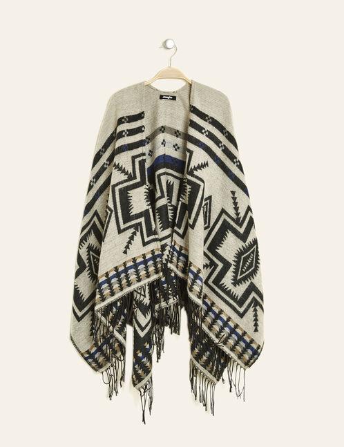 cape motif navajo beige, noir et bleue