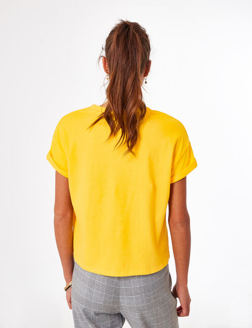 Yellow crop top with text design detail