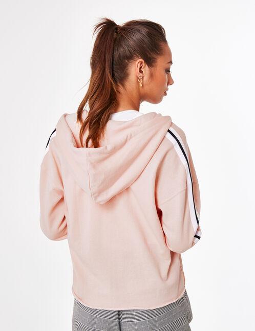 """Light pink """"sisterhood"""" zip-up hoodie"""