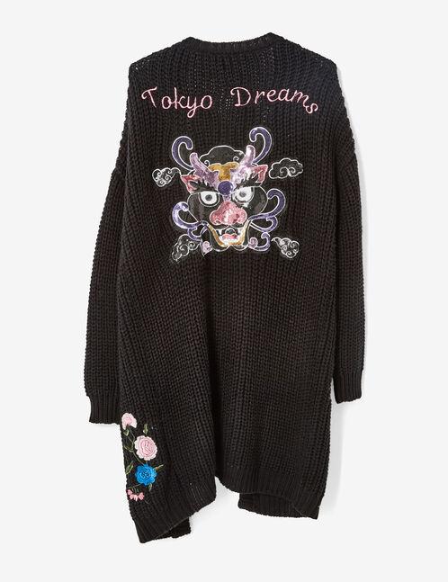 """Long black """"Tokyo dreams"""" cardigan"""