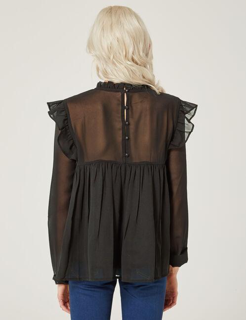 blouse brodée noire
