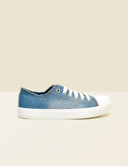 Sky blue distressed denim trainers