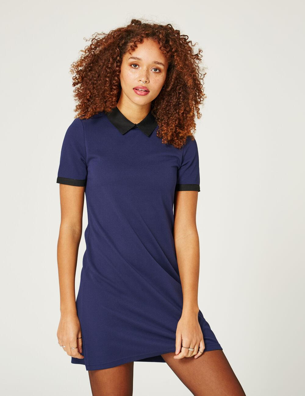robe avec col noir bleu marine femme jennyfer. Black Bedroom Furniture Sets. Home Design Ideas