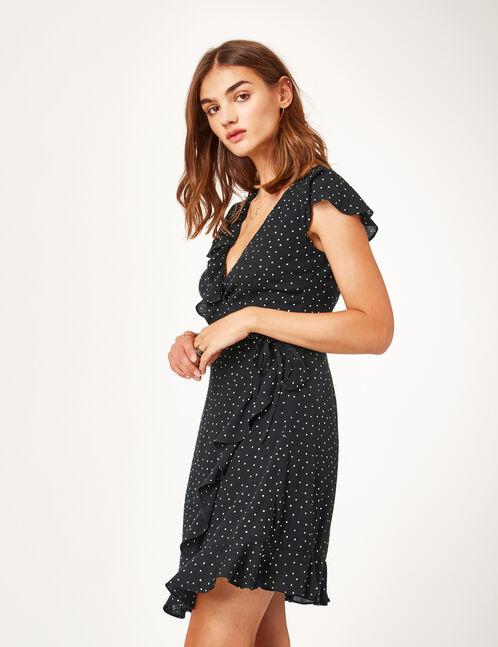 robe portefeuille à pois noire et blanche