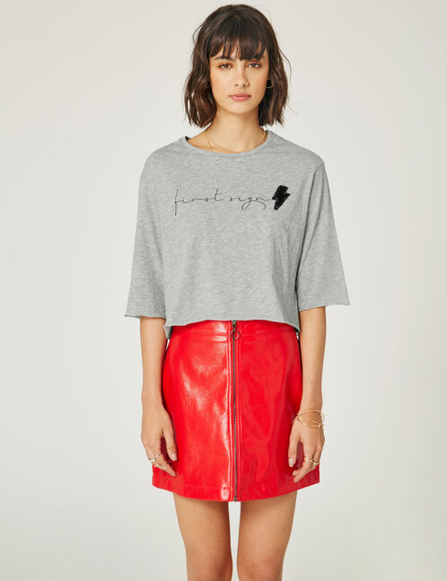 Grey marl crop top with text design detail