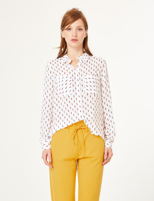 Cream geometric print shirt