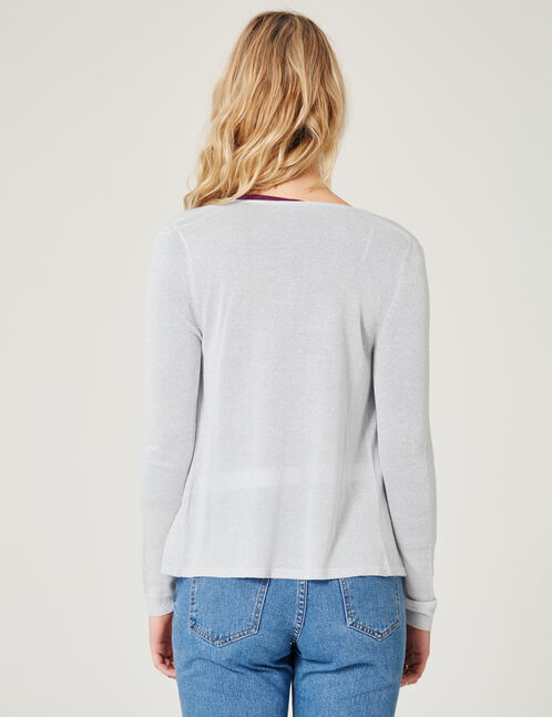 Grey marl open cardigan with lurex detail
