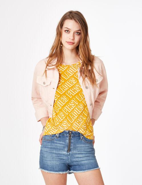 short en jean zippé medium blue
