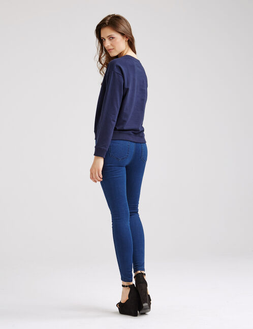 jegging super skinny taille haute bleu foncé