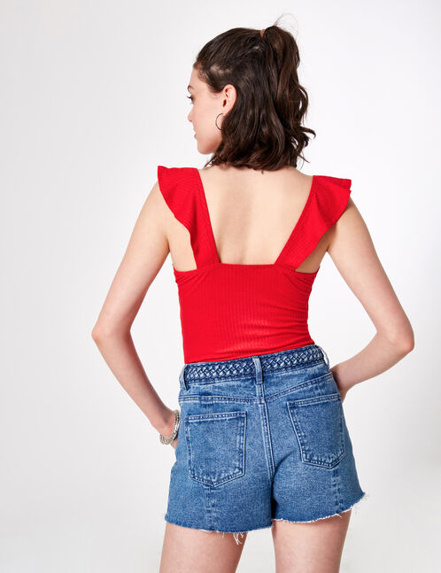 Red bodysuit with frill detail