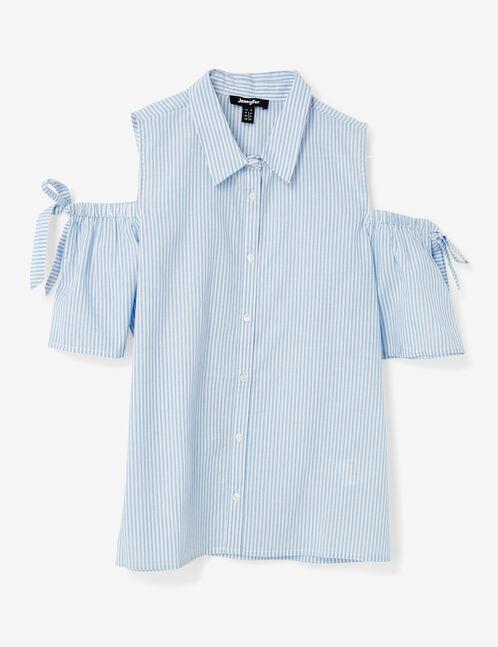 chemise épaules ajourées rayée écrue et bleu clair