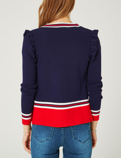 Navy blue, white and red striped cardigan