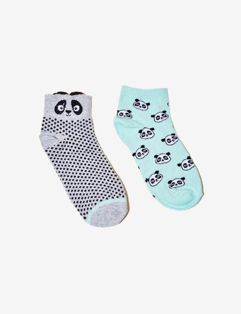 Black, grey and sea green patterned socks