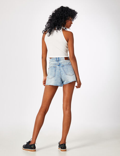 "Bleached ""we are denim"" shorts"