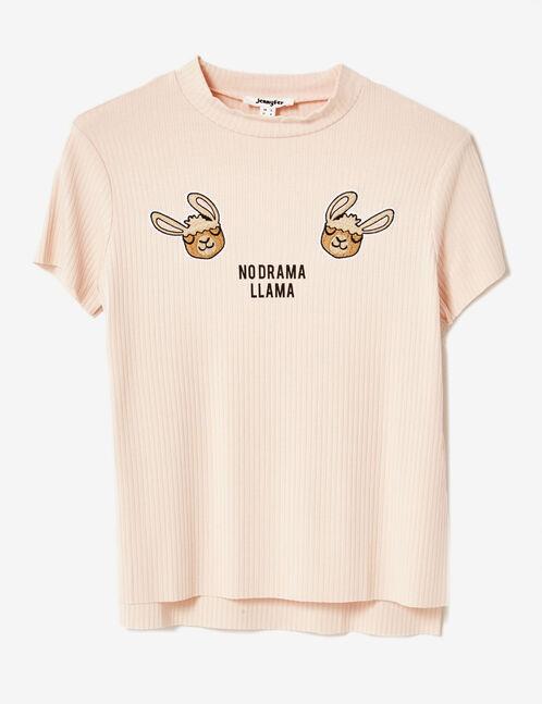 tee-shirt à patchs lama rose clair
