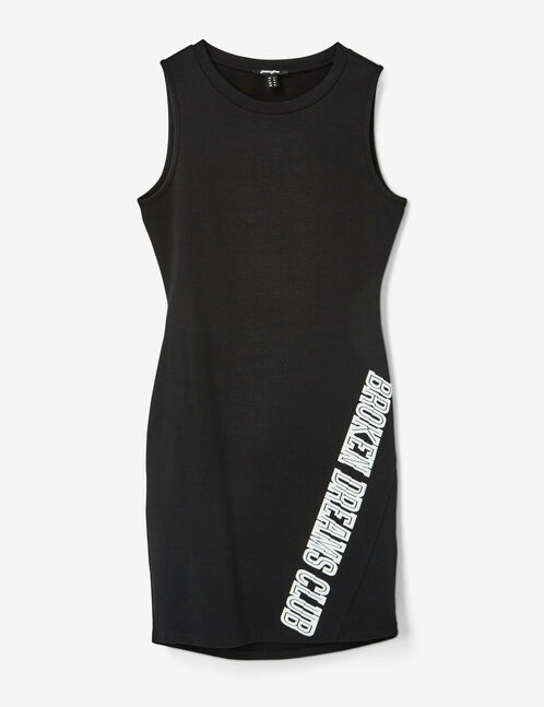 robe ajustée à message noire