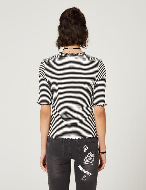 tee-shirt basic côtelé rayé noir et blanc