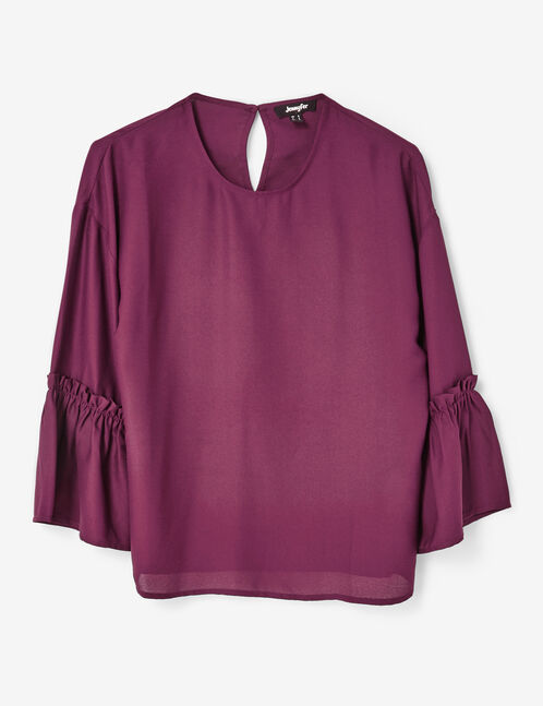 Purple blouse with pagoda sleeves