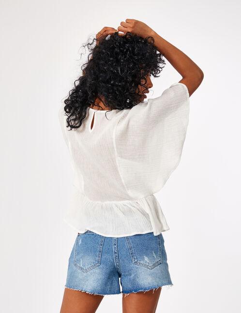 blouse broderies et pompons écrue