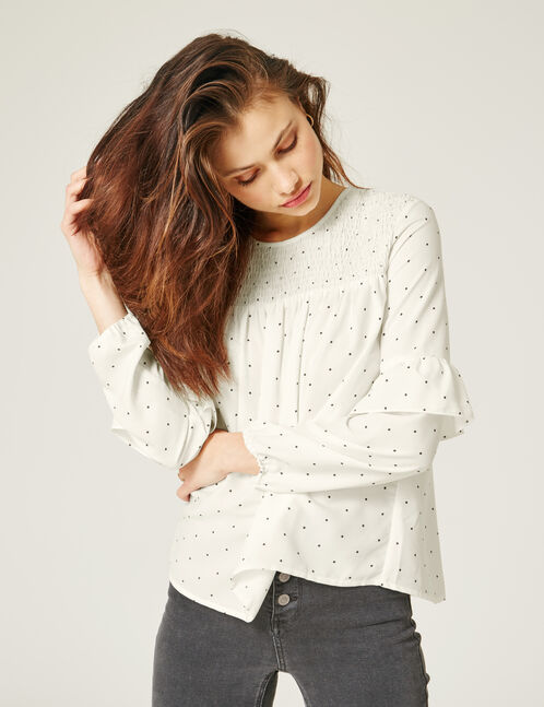 Cream polka dot blouse
