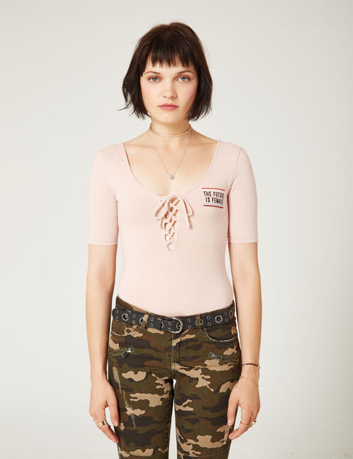 Pale pink embroidered bodysuit with lacing detail