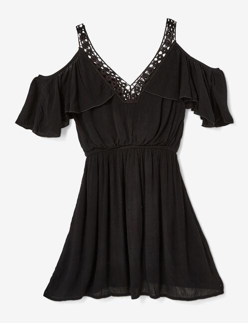 Black dress with macramé detail