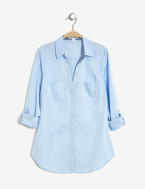 Basic light blue fitted shirt