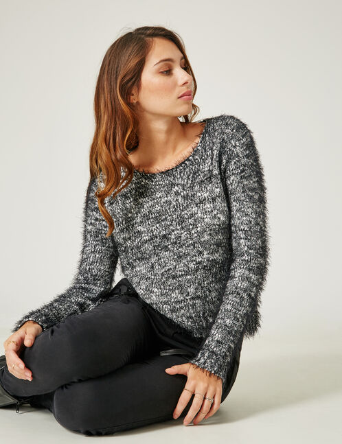 Black and silver mohair-effect jumper
