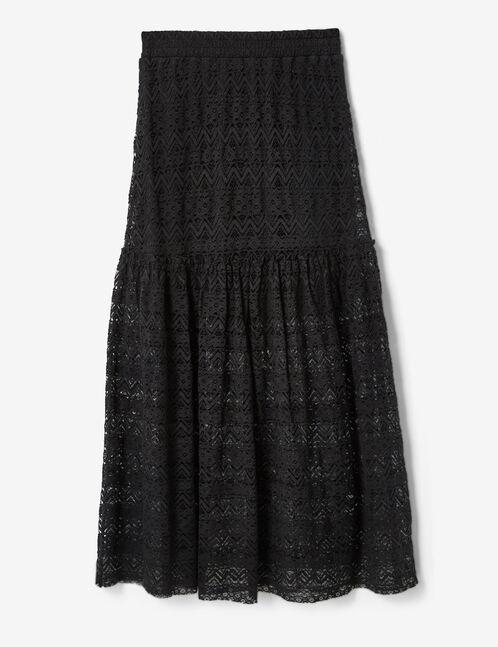 jupe longue en dentelle noire