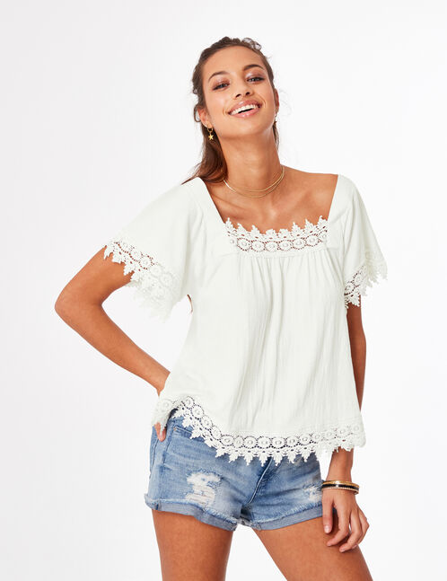 tee-shirt avec dentelle écru