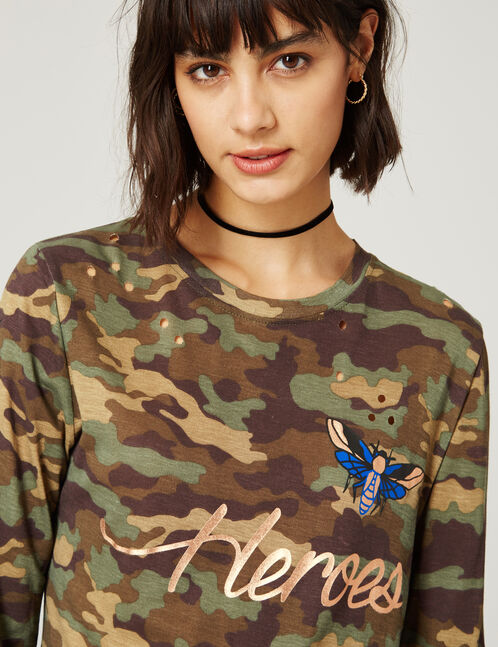 Khaki camouflage printed top