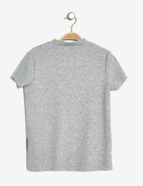 Grey marl T-shirt with unicorn patches