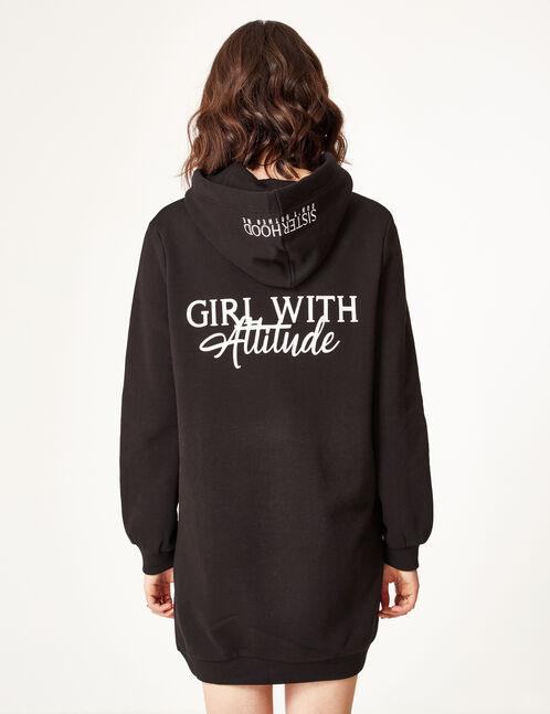Long black hoodie with text design detail