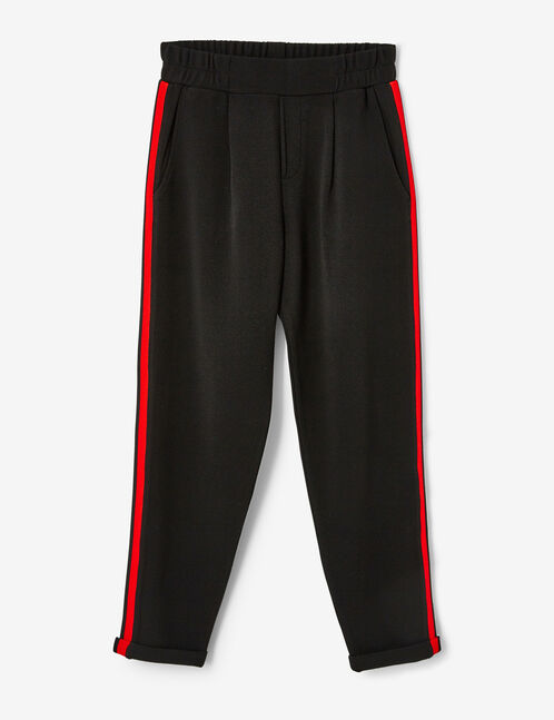 Black, red and white joggers with side stripe detail