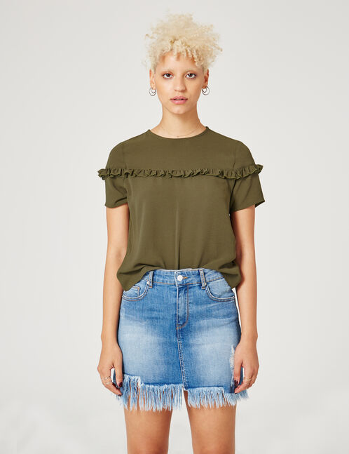 Khaki blouse with small frill detail
