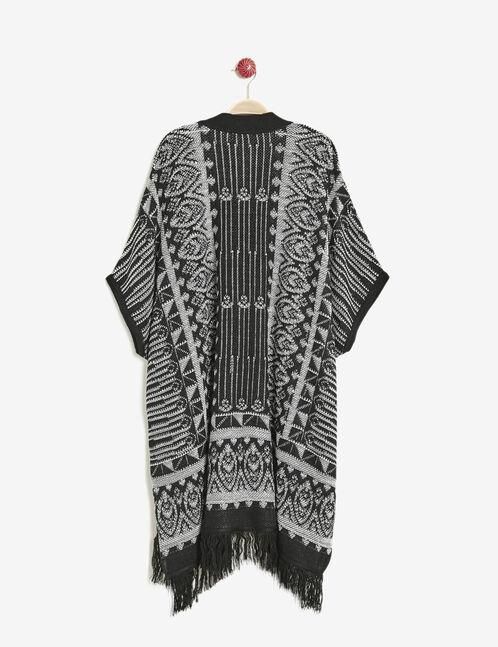 gilet forme kimono noir et blanc