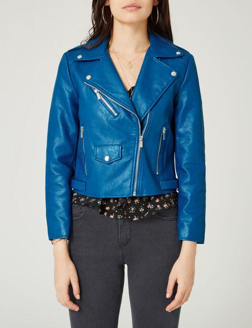 Blue biker jacket with zip detail