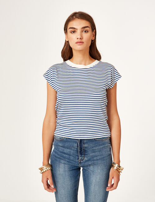 Blue and cream striped T-shirt