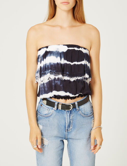 White and blue tie-dye strapless top