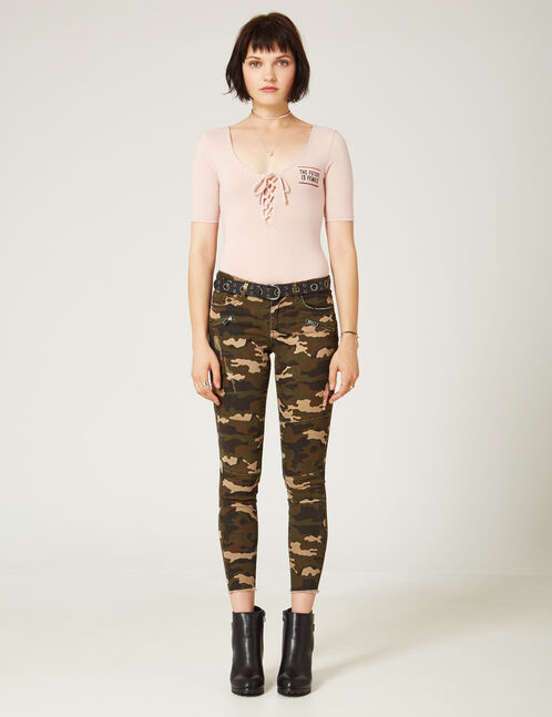 Khaki camouflage skinny trousers with seam detail