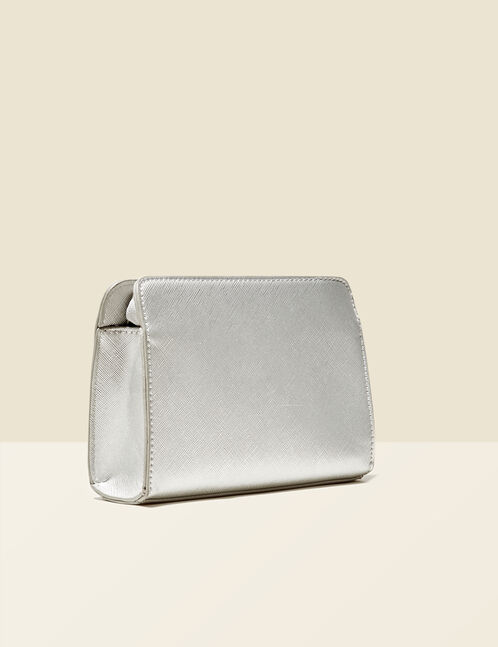 Small silver textured bag with charm detail